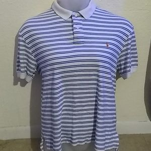 Ralph Lauren White Stripped Polo size M